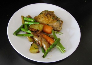 Spring Chicken with a Pile of Baby Vegetables